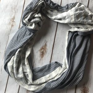 Infinity navy and cream colored scarf